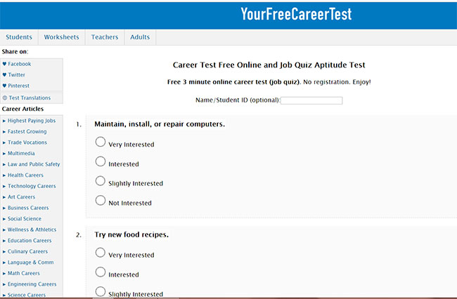Yourfreecareertest